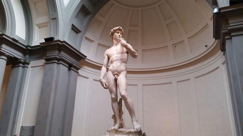 Estátua de David - obra de Michelangelo na Galeria da Academia de Belas Artes de Florença