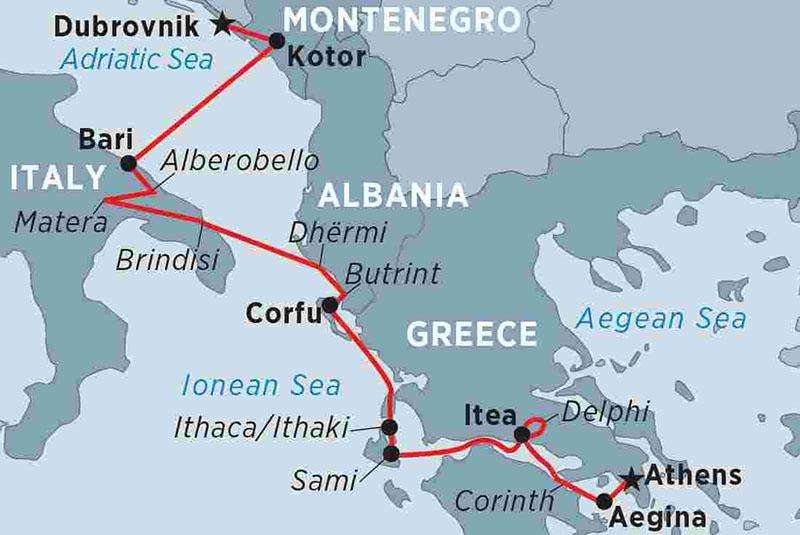 Mapa de rotas entre Itália e Albânia de ferry