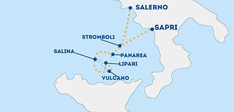 Mapa das Ilhas Eólias